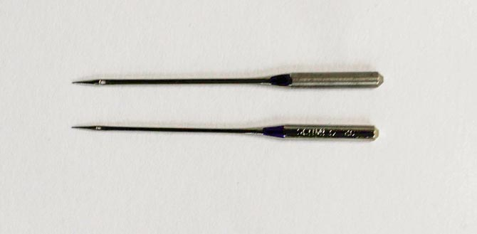 Top needle is a size 12, the bottom needle is a size 8