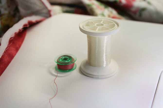 Invisible thread for the top and thread that matches the binding in the bobbin