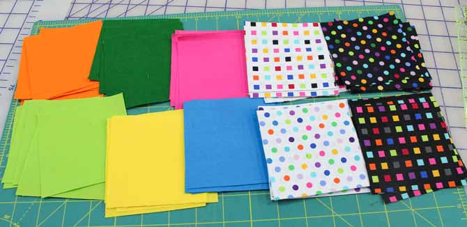 Variety of fabric squares to make quilt blocks