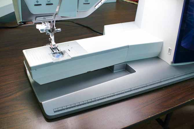 Accessory tray is removed to allow free arm sewing