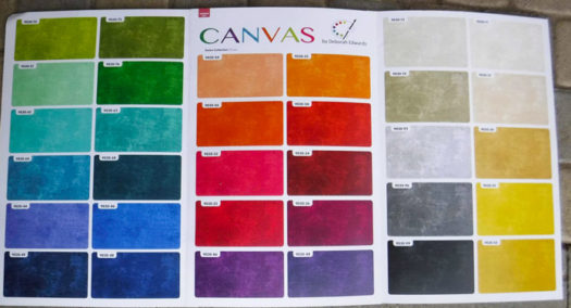 A color card of the 32 colors in the Canvas collection