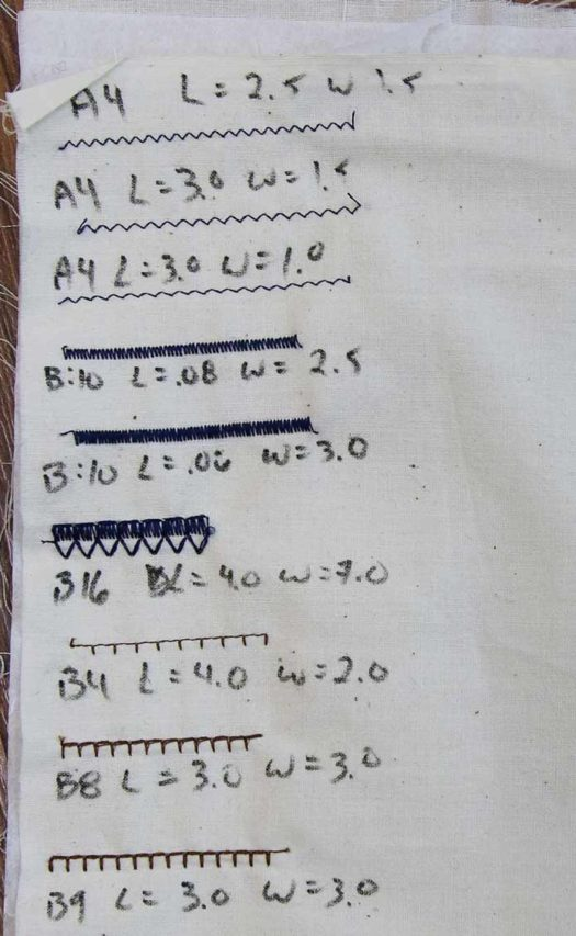 Labelled stitch out of various applique stitches
