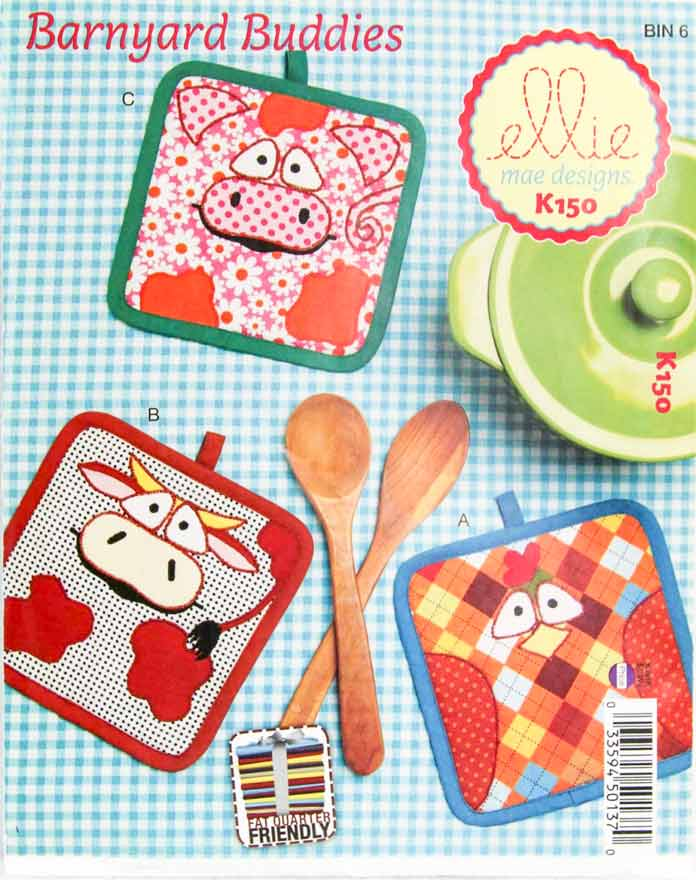 Barnyard Buddies pot holder pattern by ellie mae designs