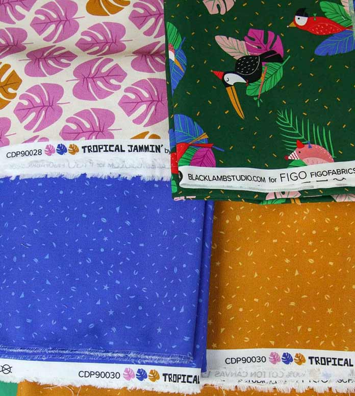 The canvas weight fabrics from the Tropical Jammin' collection using the HUSQVARNA VIKING Designer Brilliance 80 sewing machine