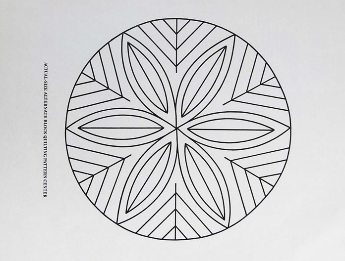 Line drawing of a circular design for marking and quilting a quilt block; translating this image into a digital file to then embroider it using the HUSQVARNA VIKING Designer Brilliance 80 sewing machine