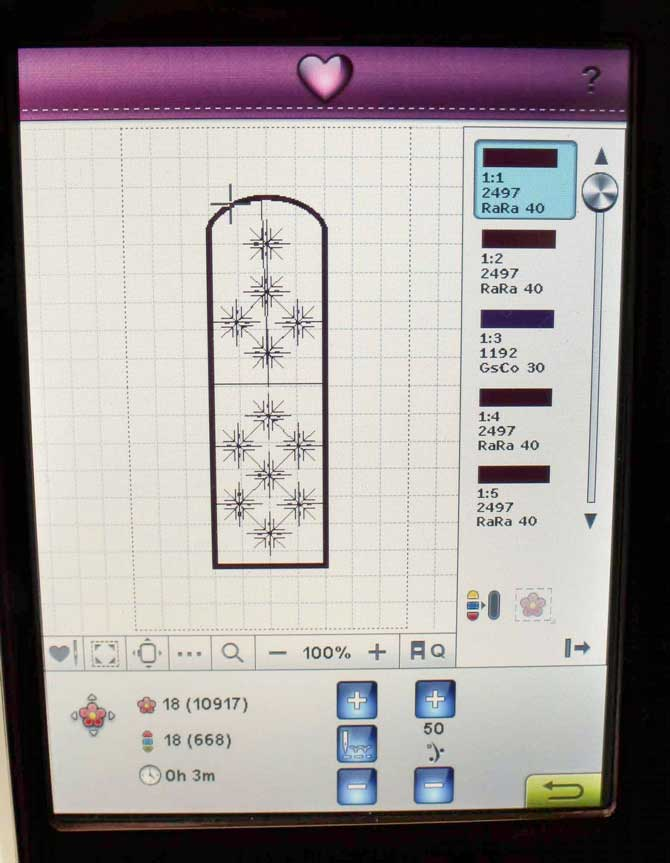 Project design on the Ruby Royale embroidery stitch-out screen