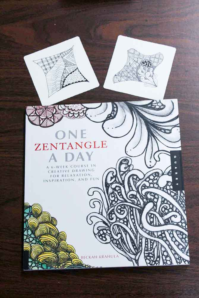 Zentangles done on a Zentangle tile (art paper) and one of many Zentangle books