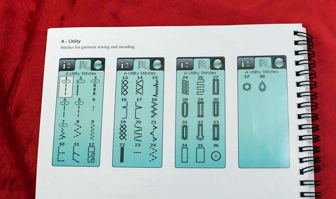 The A-Utility stitch menus in the manual. These layouts are screen shots from the sewing machine.