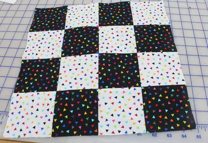 One of the 6 quilt blocks needed to make a cube pillow