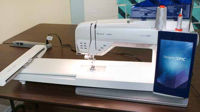 Husqvarna Viking Designer EPIC with embroidery unit attached