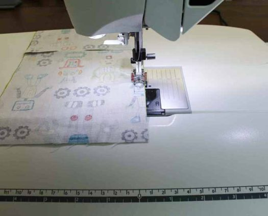 """Using the Quilter's ¼"""" Piecing Foot P to piece the blocks"""