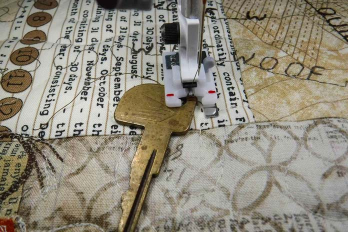 Stitching down a key with the Button Foot