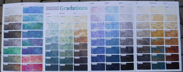 Color card of the Stonehenge gradations