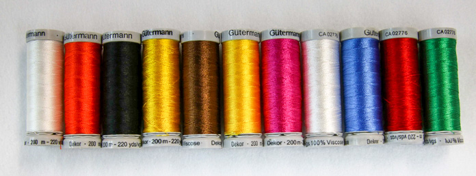 A sample of colors available in the 40-weight rayon threads for machine embroidery or machine applique