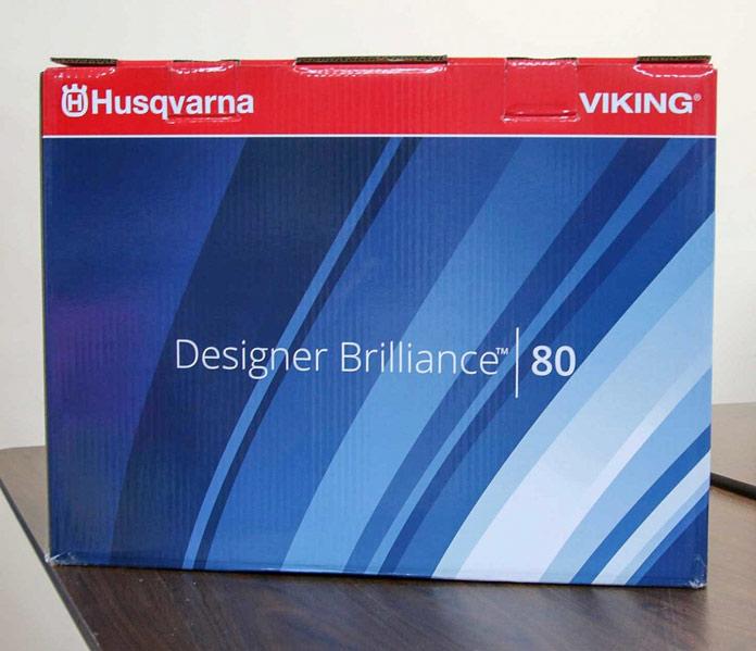 The box for the Husqvarna Viking Designer Brilliance 80 sewing machine