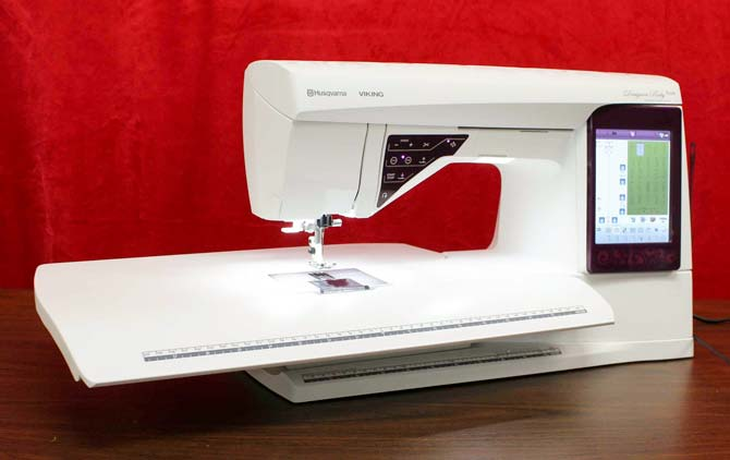 Husqvarna Viking Designer Ruby Royale with the embroidery unit attached