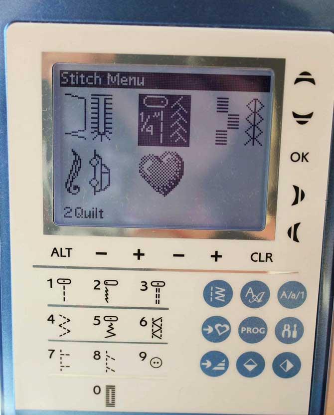 The Stitch Menu selection screen