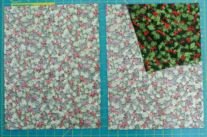 "One strip of fabric cut into two pairs of rectangles measuring 10 3/4"" by 14"" each"