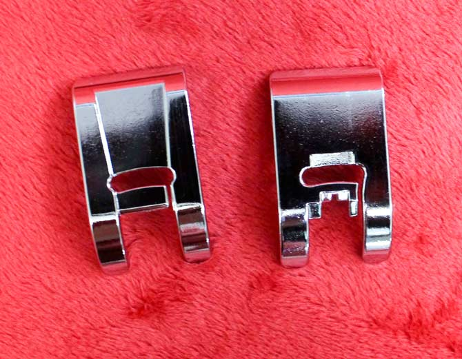 Presser Foot B (on the left) has a groove while Presser Foot A (on the right) doesn't