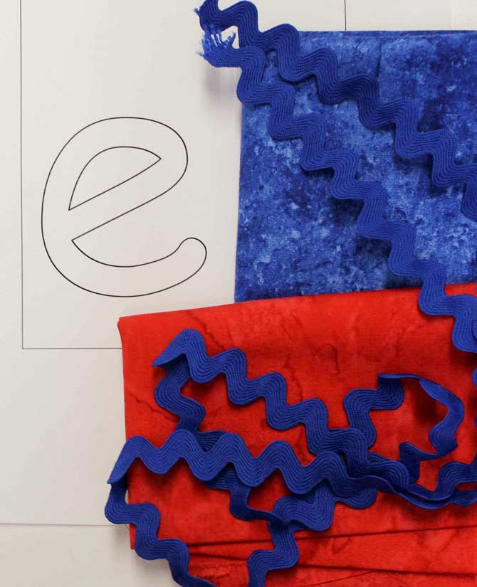 Supplies needed for monogrammed applique (fusible web not shown)