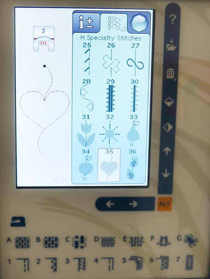 The third screen for the H - Specialty Stitches