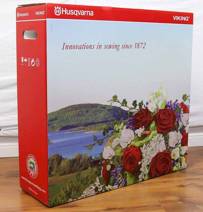 Embroidery unit for the Husqvarna Viking Designer Topaz 50 is in the box