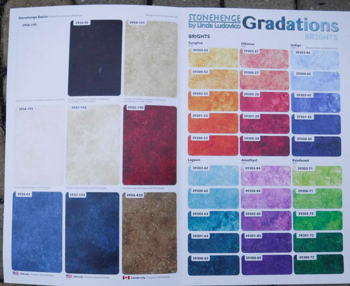 Color card with Stonehenge basics and Gradations Brights