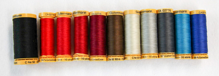 A sampling of the wide range of colors in 50wt 100% cotton thread