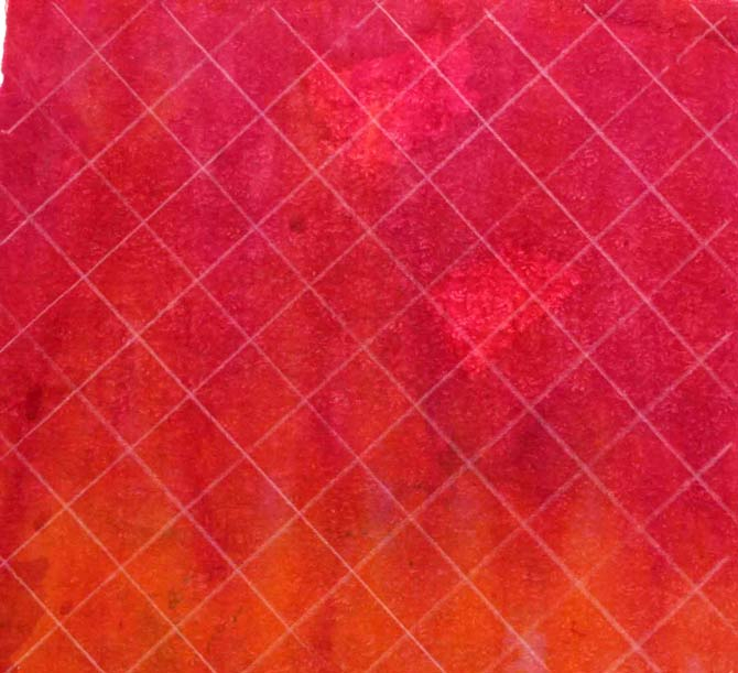 Mark a 1 inch diagonal grid on the surface of the hand dyed fabric.