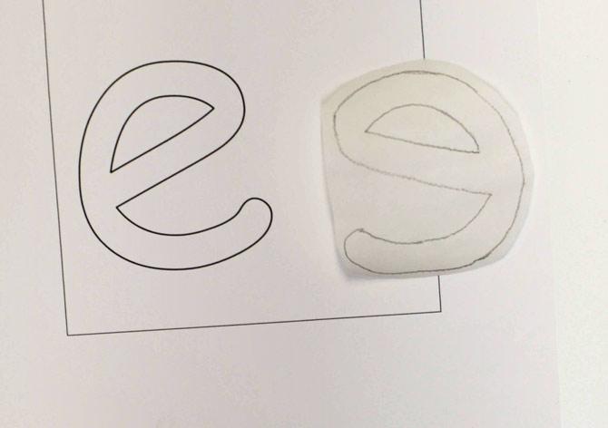 "Letter ""e"" traced onto fusible web"
