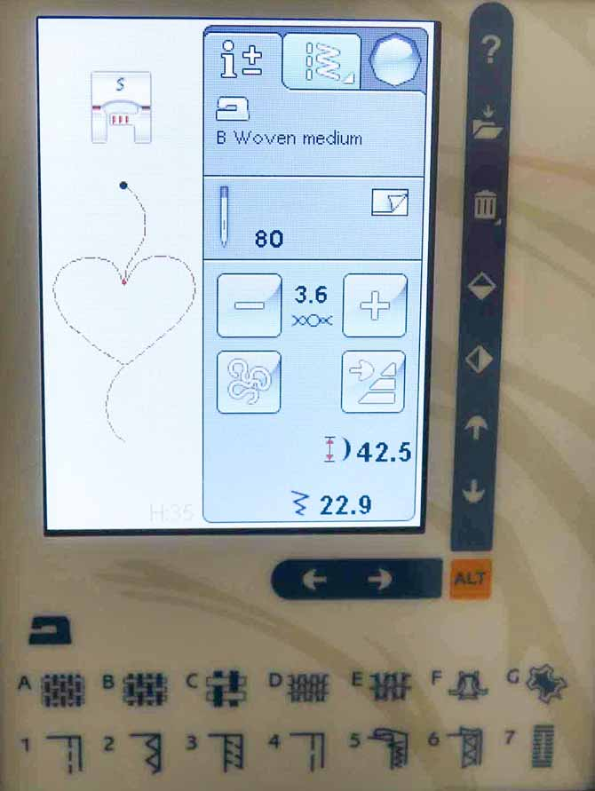 Press the Sewing Information tab to see the settings for the H35 dimensional stitch on the Husqvarna VIKING Sapphire 965Q.