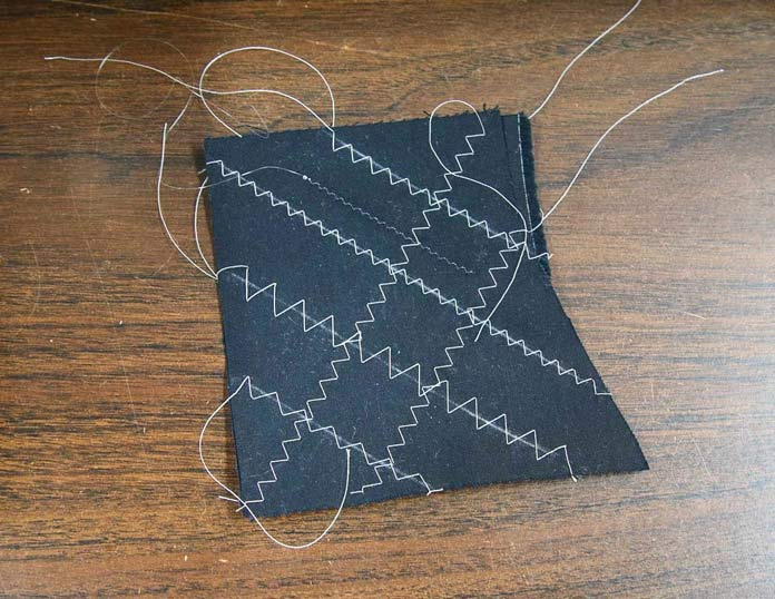 Stitch out a sample to test stitches before touching the project; using the HUSQVARNA VIKING Designer Brilliance 80 sewing machine