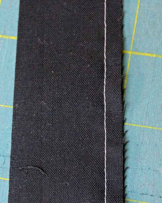 straight seam stitched on fabric