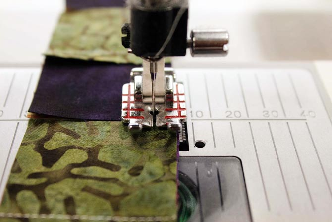 Using Needle Down and Sensor Foot Down/Pivot functions, the next set of seams can be positioned right up to the needle