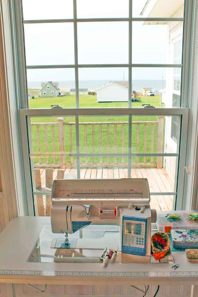 The beautiful view of the Atlantic Ocean from my room. Oh! And there's my sewing machine too! Heavenly.