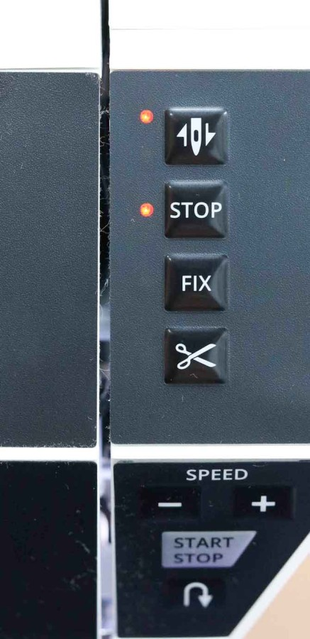Needle stop up/down, STOP, FIX and Scissors function buttons
