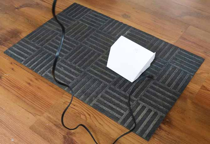 Rubber mat prevents the foot pedal from moving