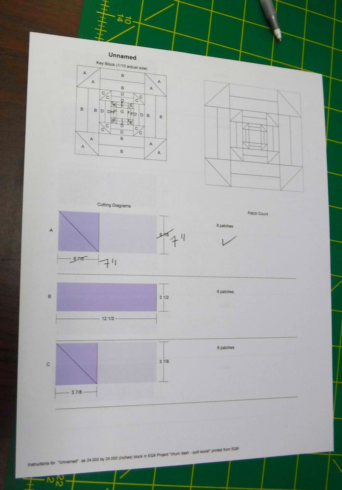 Rotary cutting instructions from the computer-based quilt design software