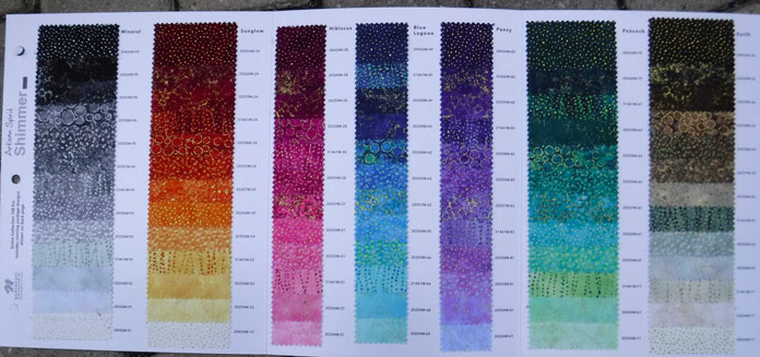 Swatch card of Shimmer in 7 colors and a wide range of values within each colorway