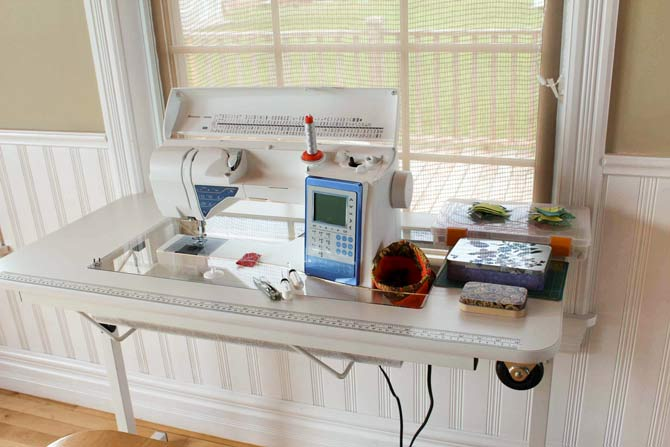 The portable sewing table is well designed with lots of room in front of the needle and plenty of space to the right for stuff and to the left to support the pieces you are sewing.