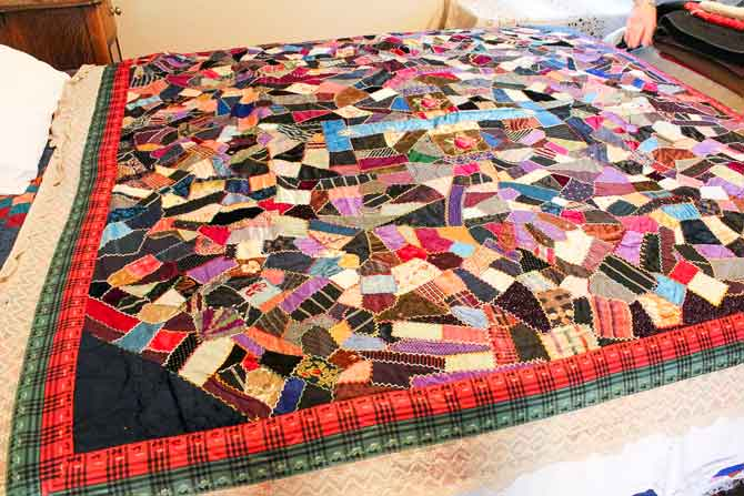 A crazy quilt from the Jim Erickson Heritage Quilt Collection