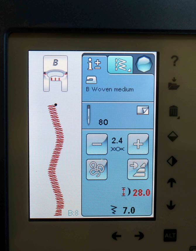 Here's the screen showing the stitch I used. See the black dot - that indicates the sewing machine is set at the beginning of the stitch sequence. The button with the arrow will also allow me to reset the machine back to the start of the stitch sequence.