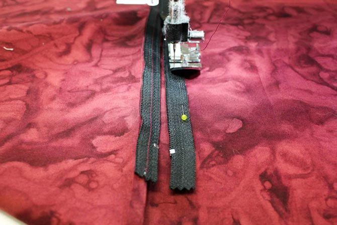 Sewing the zipper using a zipper foot