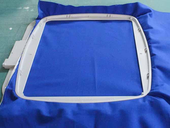 The inner hoop is secured inside the outer hoop