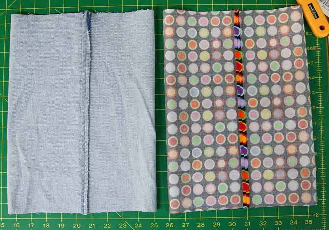 Two tubes for the container - one from denim for the outer part and the cotton lining