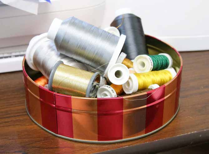 Threads for one project are set aside in a container