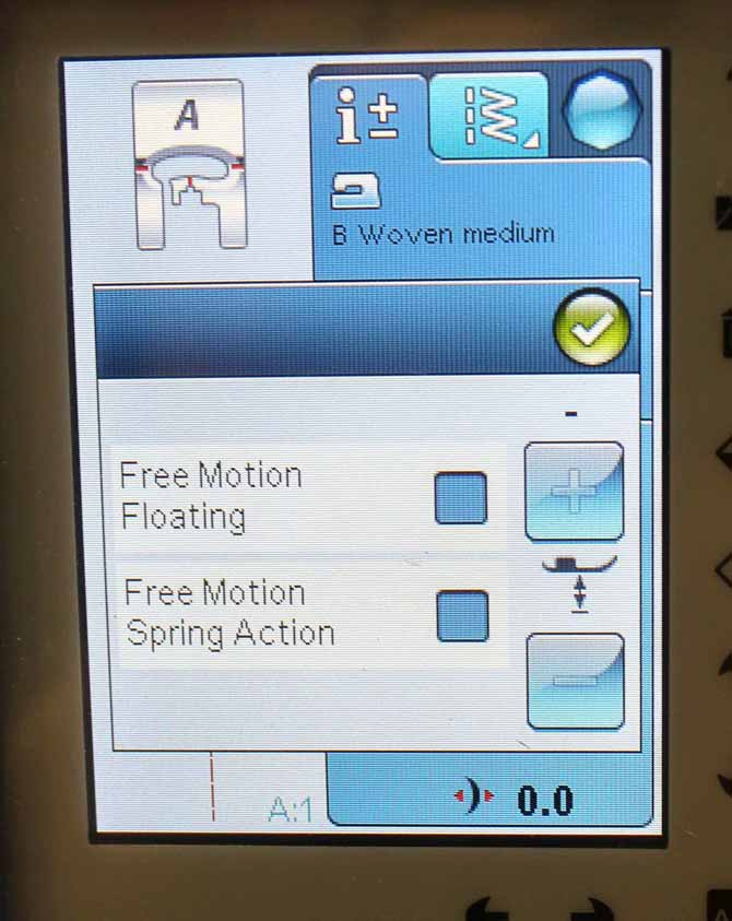 Choose the appropriate option that corresponds to the type of free motion foot you'll be using.