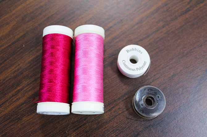 40 weight embroidery thread and prewound bobbins for satin stitch applique