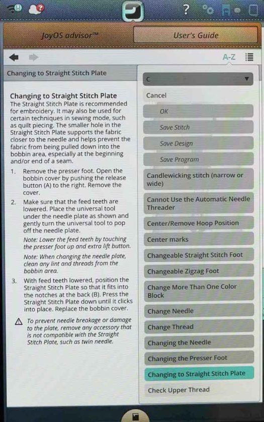 Instructions for Changing to Straight Stitch Plate