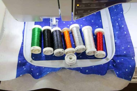 Selected threads for the snowman applique embroidery
